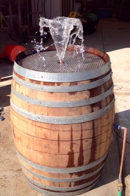Wine Barrel Fountain With Bird Bath Feature By Wyldatheartcustoms