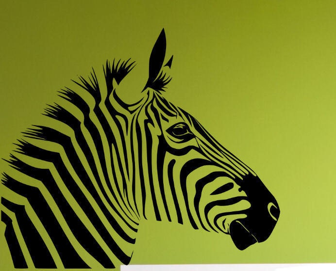 Zebra Head Wall Decor : Items similar to zebra head wall decal vinyl decor on etsy