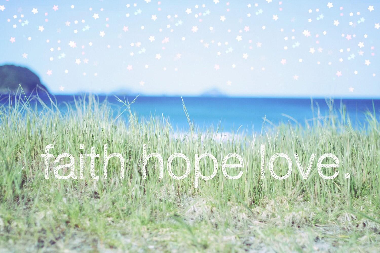 faith hope love beach art