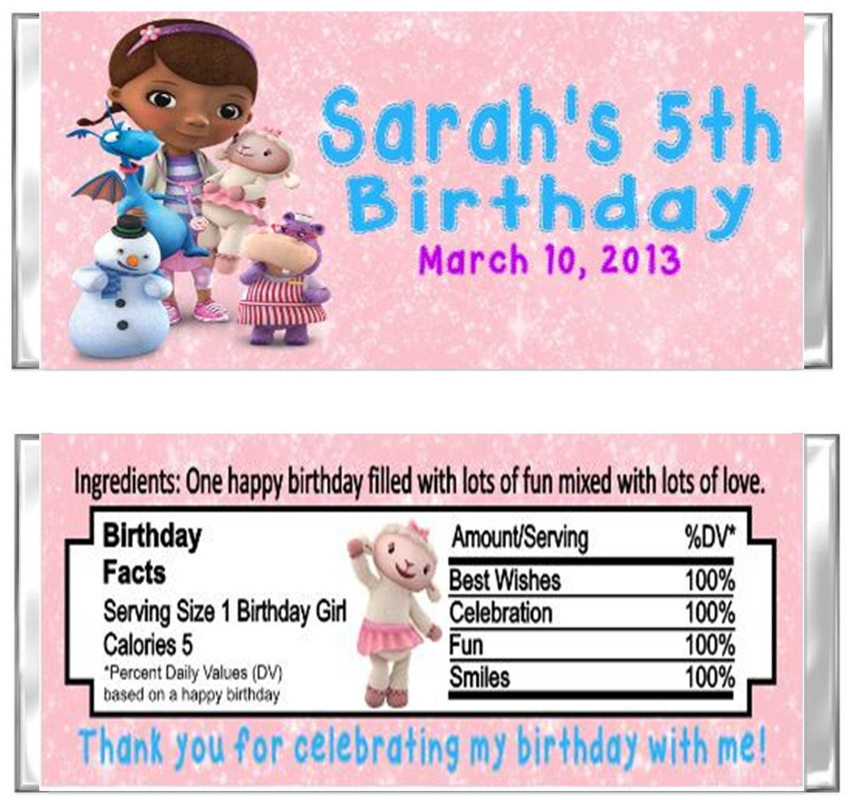 Doc McStuffins Birthday Party Hershey Candy Wrappers Favors Custom Personalized