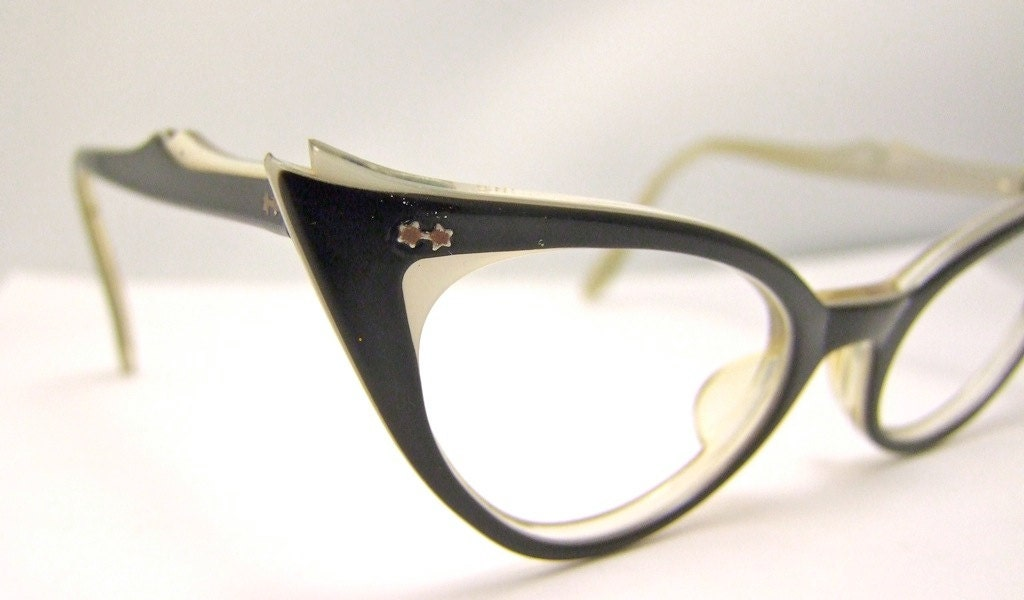 Stunning Catseye 1950s   BLACK and White layered  EYEGLASSES  Marine Brand USA - ifoundgallery