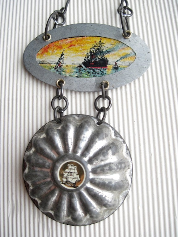 Into the Sunset-Mixed Recycled Tin Necklace- Statement Travelers Necklace-Sailing Ships