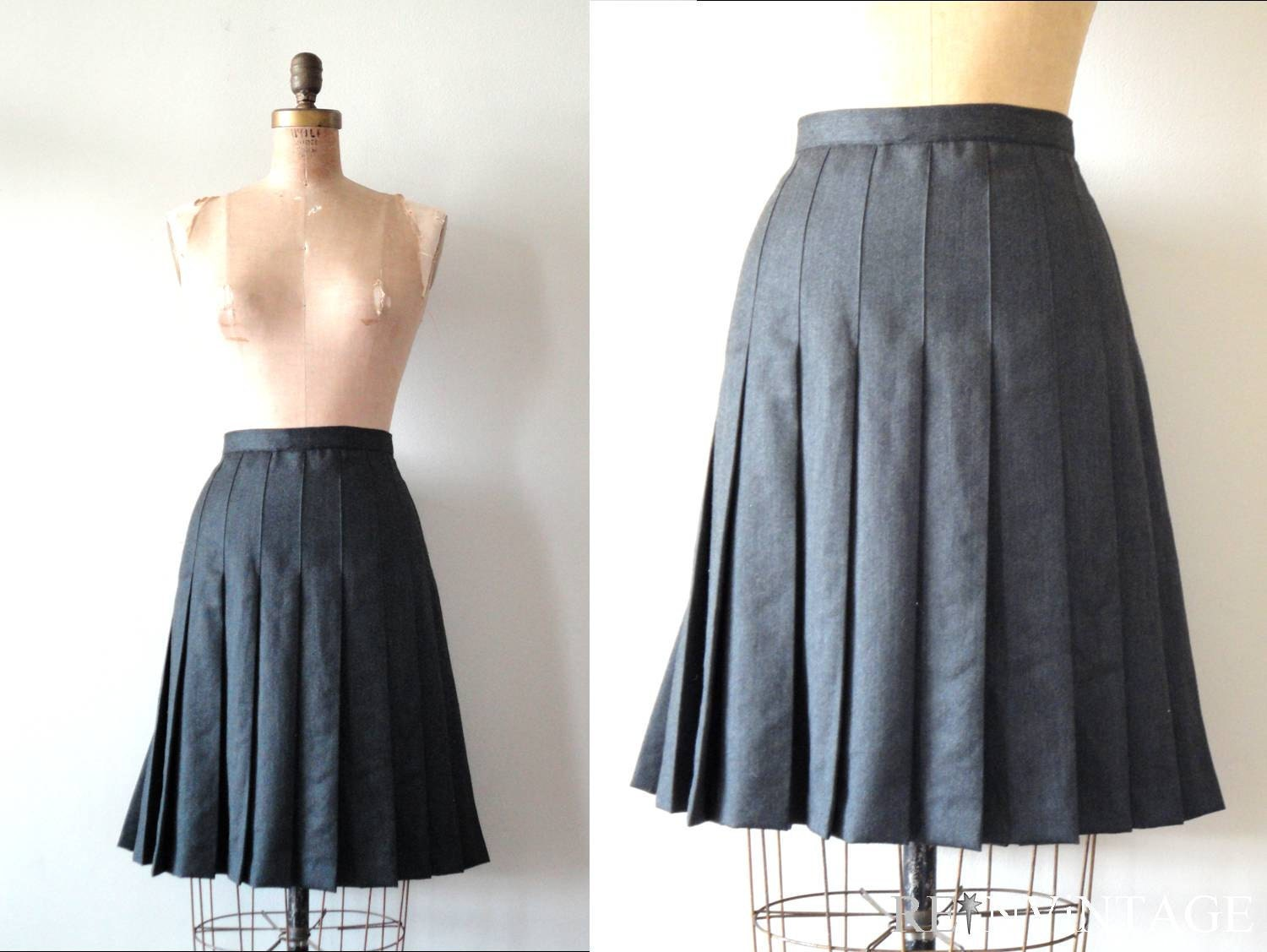 vintage pleated skirt charcoal gray wool by shopreinvintage