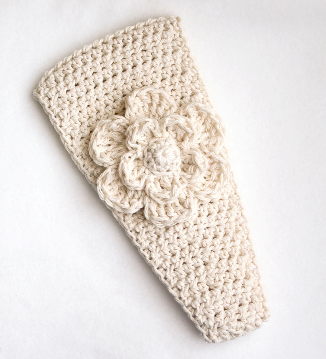 Baby Girl Espadrilles Crochet Pattern : ADULT Crochet Ear Warmer in Cream by beeziebee on Etsy