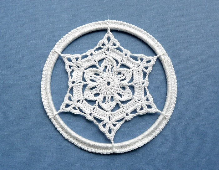 Crochet Christmas Ornament -- Large Framed Snowflake