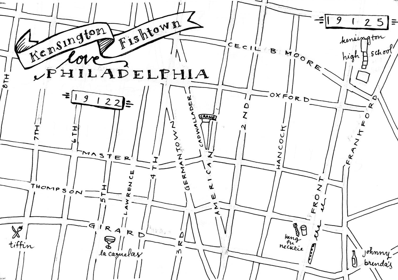 Fishtown HandDrawn Map Philadelphia By Zucchiniandco On Etsy