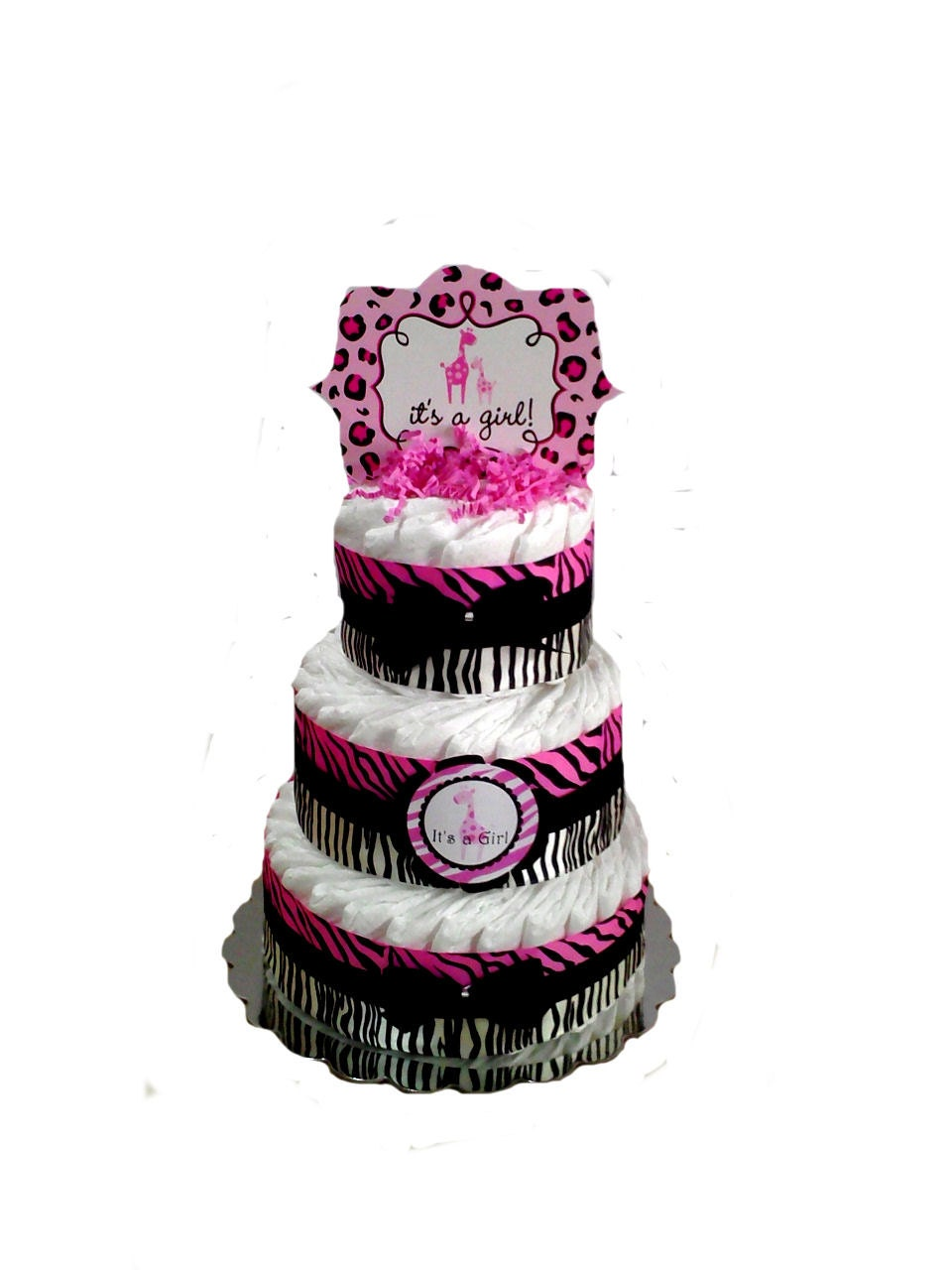 zebra sweet safari print pink and black baby shower diaper cake