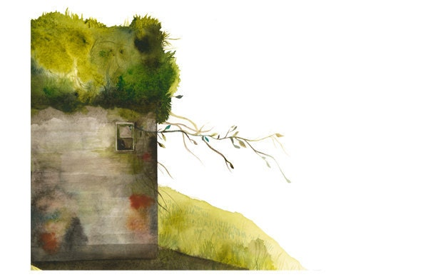 Moss House - Archival Print of Original Watercolor, gardening - amberalexander