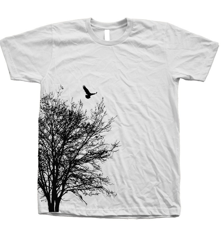 Tree T shirt Mens Unisex Hand Screen Print American Apparel Crew Neck Available: S, M, L, XL, XXL 26 Color Option - Couthclothing