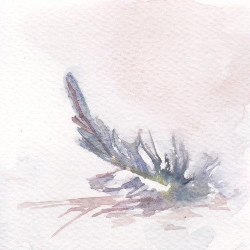 aguarela original - pintura original de penas de ave