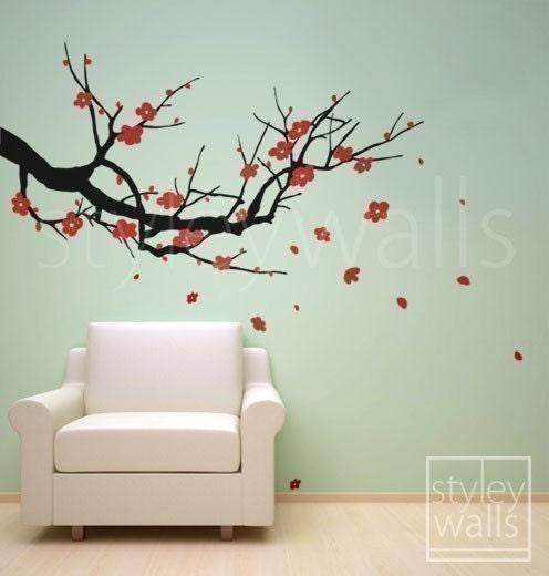 Wall Decals Cherry Blossom Wall Decal Sakura Tree   Nursery Wall Decal .