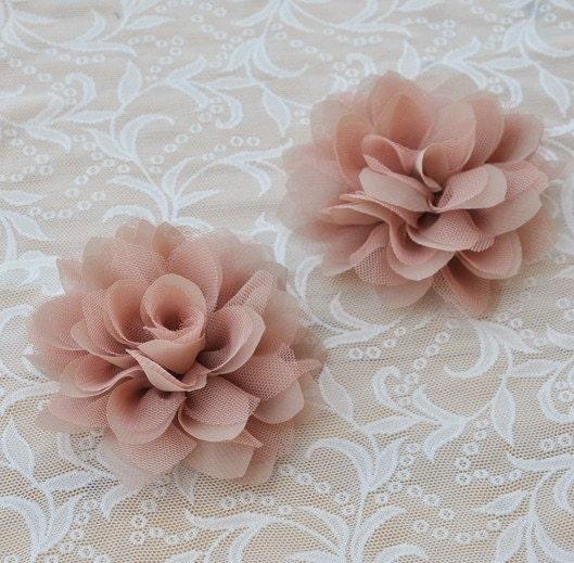 Chiffon Fabric Flowers Bridal Hair Flowers Khaki By Qfabrics