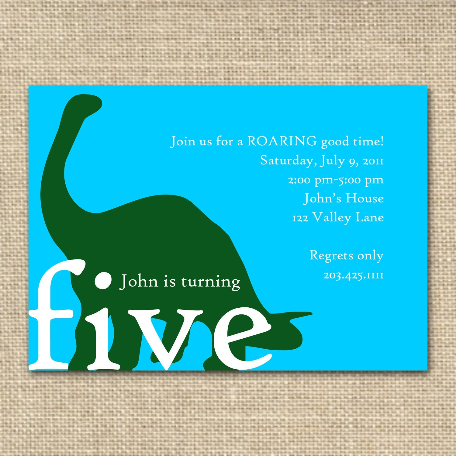 Dinosaur Invitation, Custom Colors, Printable Invitation File