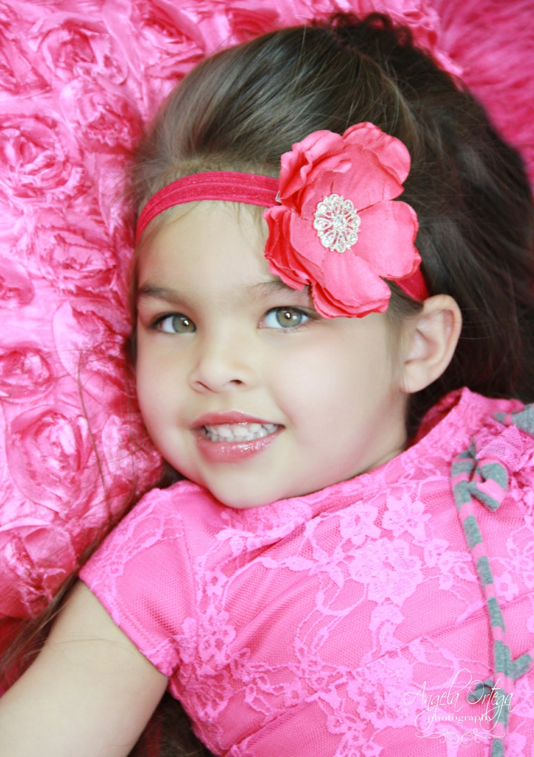 baby girl.toddler..newborn photo prop..hot pink flower rhinestone headband..spring fashion - BambinoParadiso