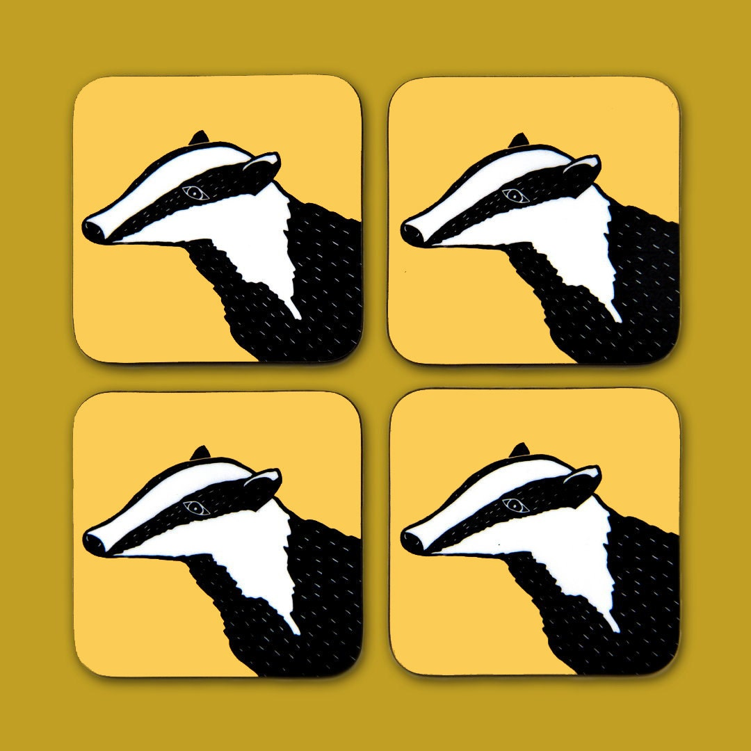 Yellow Badger Coaster Set  new home gift  gift for home  drinks mat  animal coaster  lino print  set of coasters  badger print