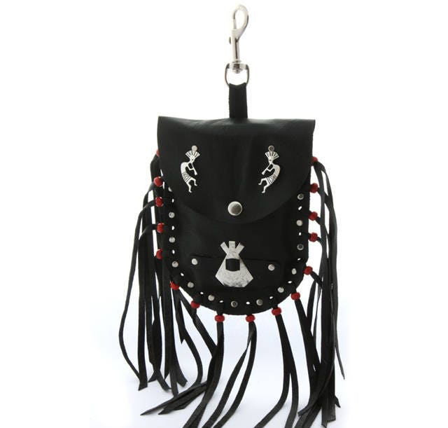 Black leather hip pouch fringed bag mobile phone belt pouch Native American handmade teepee kokopelli concho fringed clip on biker red bag