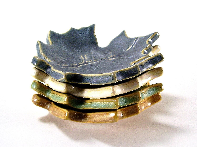 ceramic maple leaf dish vintage blue ring holder for him or her spoon rest tea bag holder candle holder home decor handmade pottery - Ravenhillpottery