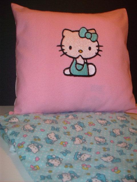 Hello Kitty Pillow And Throw Blanket Set : Items similar to Hello Kitty Blanket and Pillow and Bib Set Hello Kitty Baby Gift Set Hello ...
