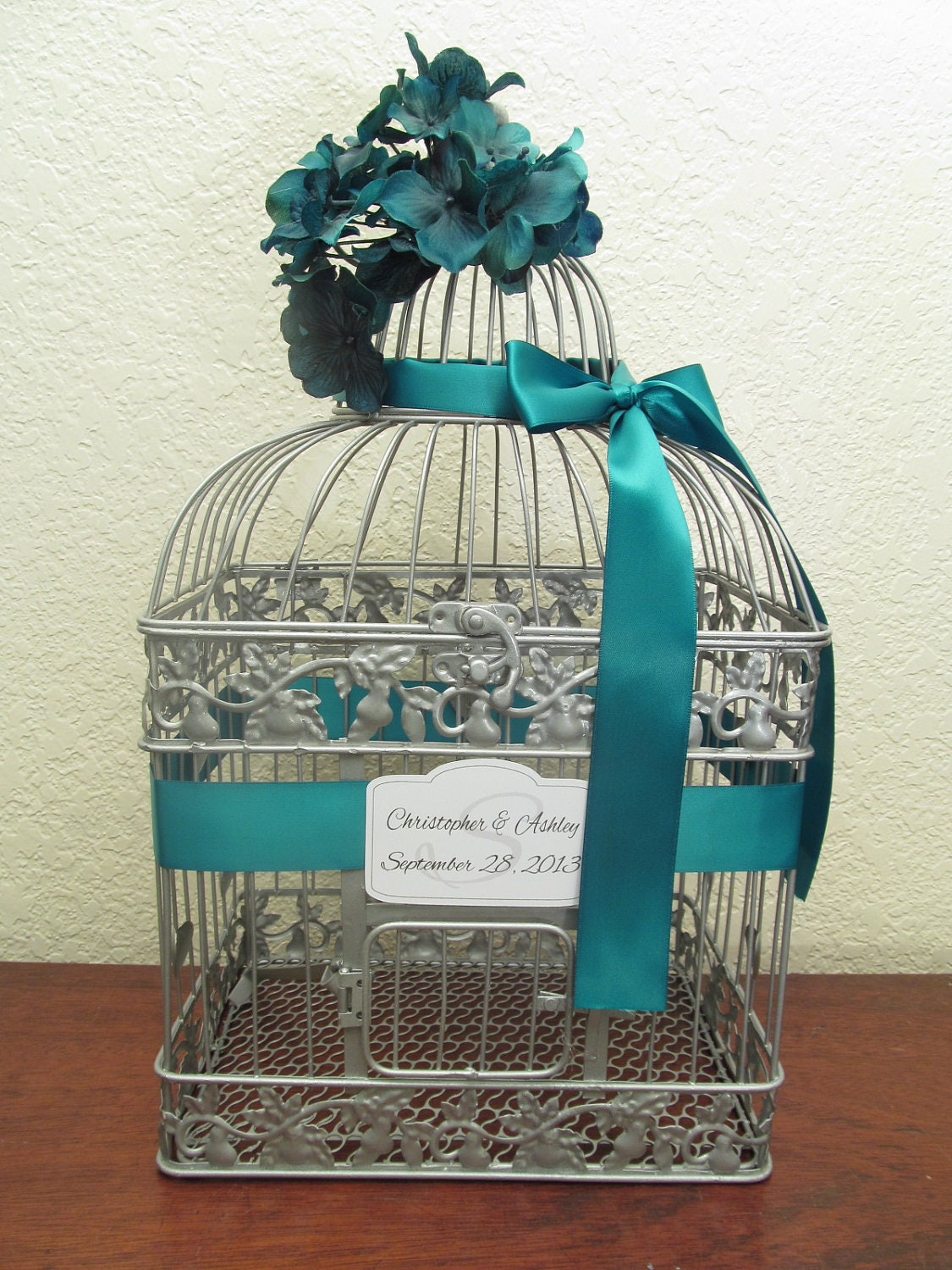 Birdcage For Wedding Gift Cards : Silver Bird Cage Wedding Card Holder With Teal Decor / Wedding Card ...