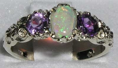 English 925 Sterling Silver Colorful Opal  Amethyst Anniversary Ring 3 Stone Trilogy Band  Customizable