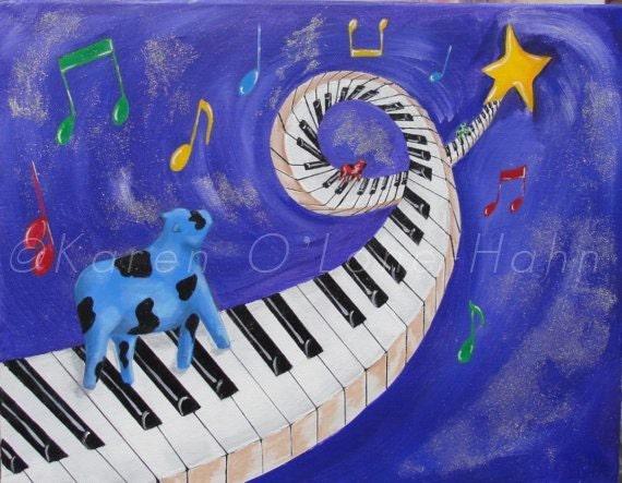 Cow Art Piano Art  Stars Yellow  Blue Purple  Folk Art  Original Acrylic painting 16 x 20 framed - RisingStarArt