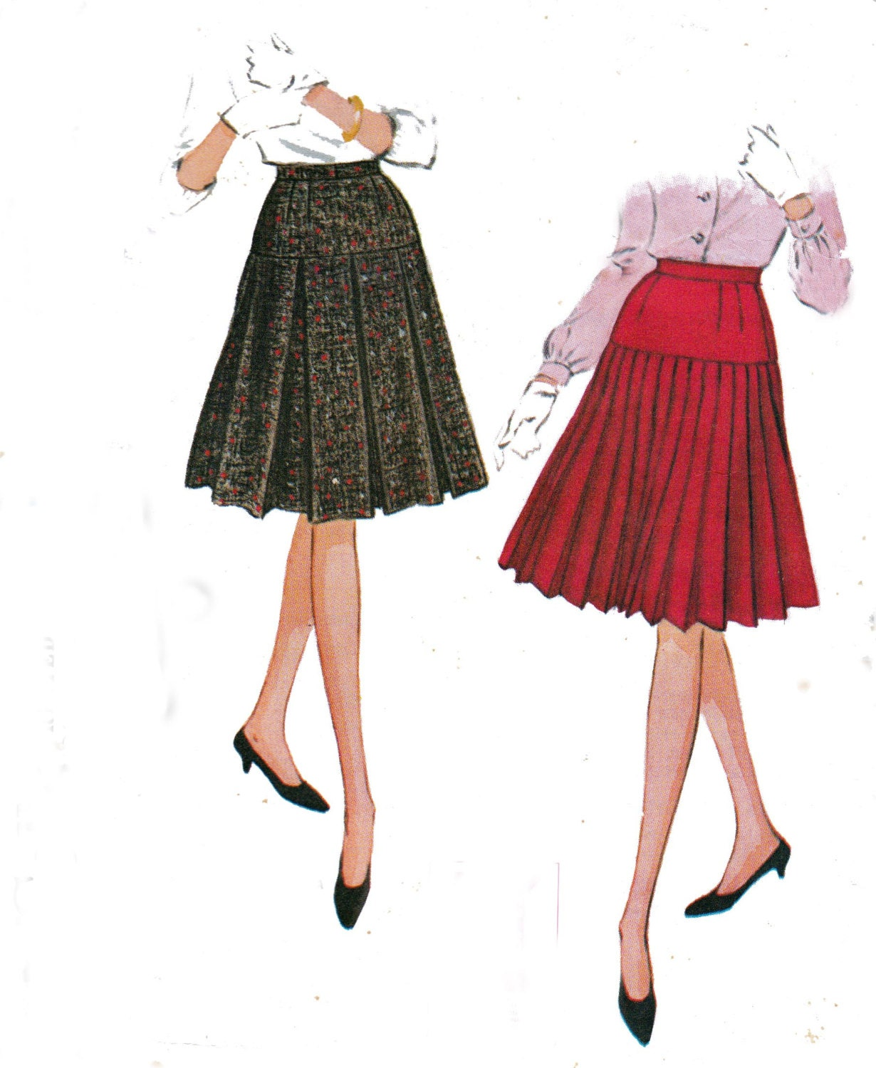 1960s pleated skirts sewing pattern by allthepreciousthings