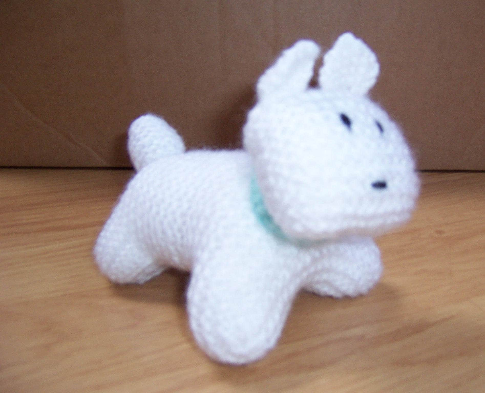 Hand Knitted, Handmade Small White Puppy Dog, Stuffed Toy, Knitted toy, Hand knitted dog toy