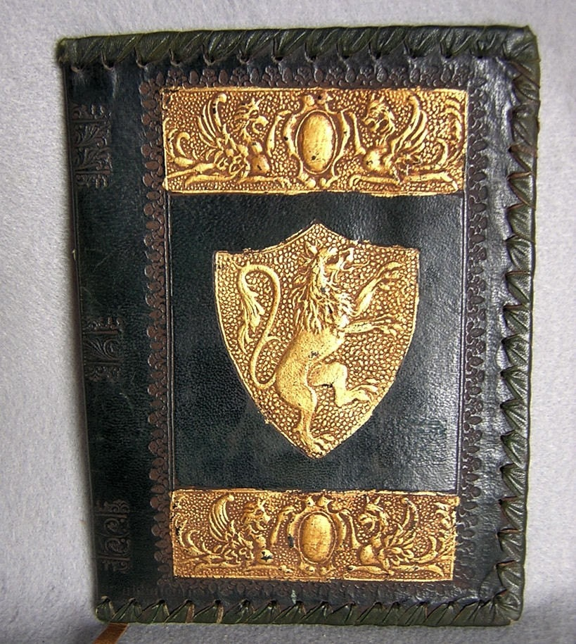 vintage italian tooled leather book cover with by neatcurios