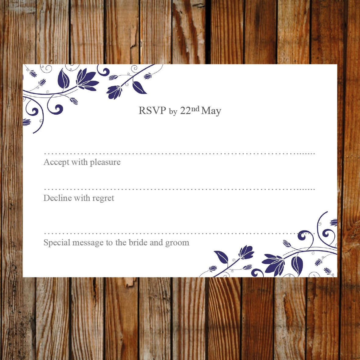 Wedding RSVP card template (Romance)  Download PRINTABLE Microsoft word template DIY wedding rsvp floral printable rsvp