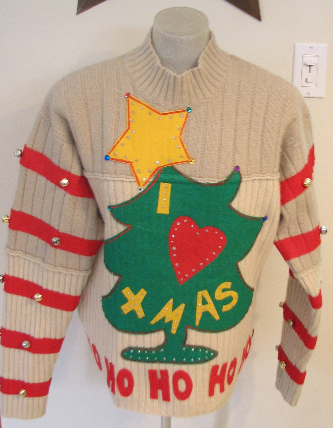 Large grinch ugly christmas sweater handmade decorations appliqued