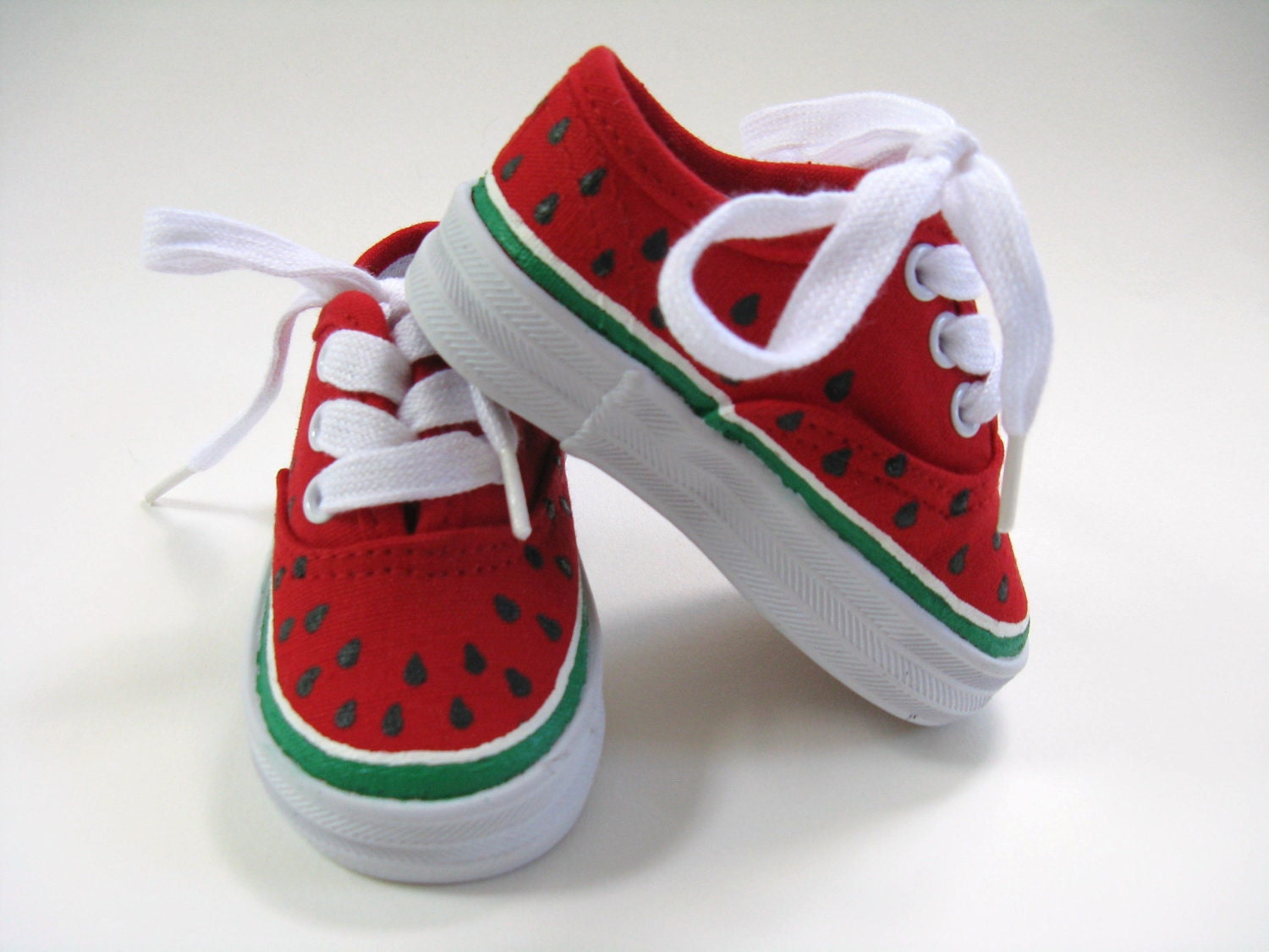 Girls Watermelon Shoes, Baby and Toddler, Hand Painted, Kids, Red  Canvas Sneakers - boygirlboygirldesign