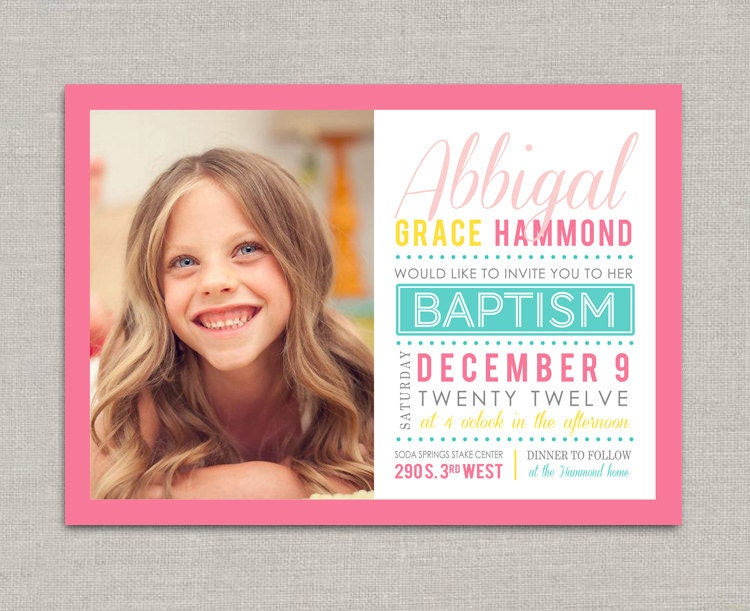 LDS Baptism Invitation Abbigal by announcingyou on Etsy