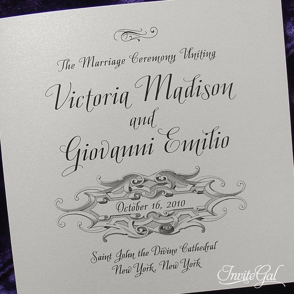 Similar to vintage gothic wedding ceremony program sample on etsy