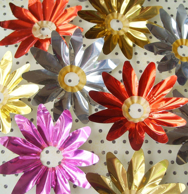 Vintage Aluminum Christmas Light Reflectors Lot of 8 Flower Shapes
