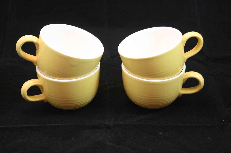 Set de 4 Vintage Café Cerâmica Ouro Copas Mostarda Com Mod Anéis Tea Time teacup Canecas