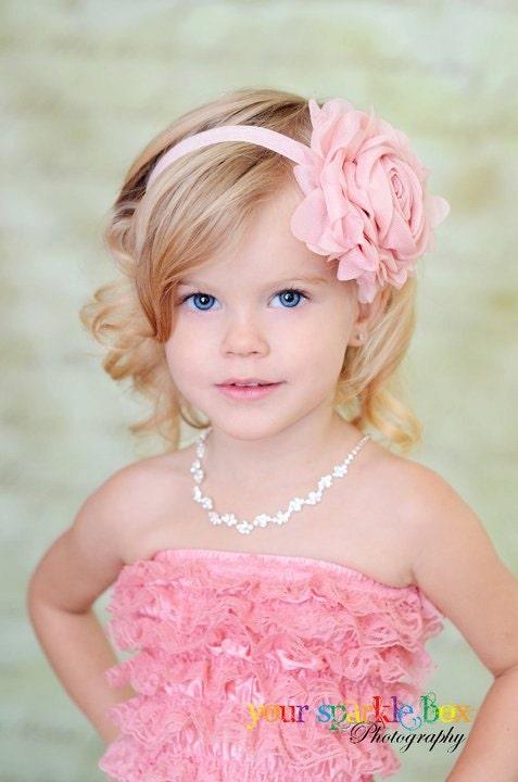 Белый цветок Повязка - Белоснежка Jumbo шифон Роза белая головная повязка или зажим для волос - Эмма - Vintage Вдохновленный - Крещение / Крещение