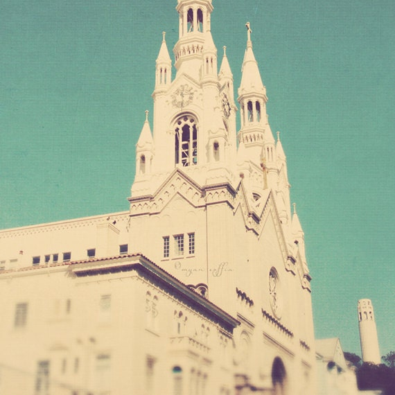 travel photography, San Francisco photograph, Marilyn & Joe, Saints Peter and Paul church, Coit tower retro blue teal romantic California - MyanSoffia