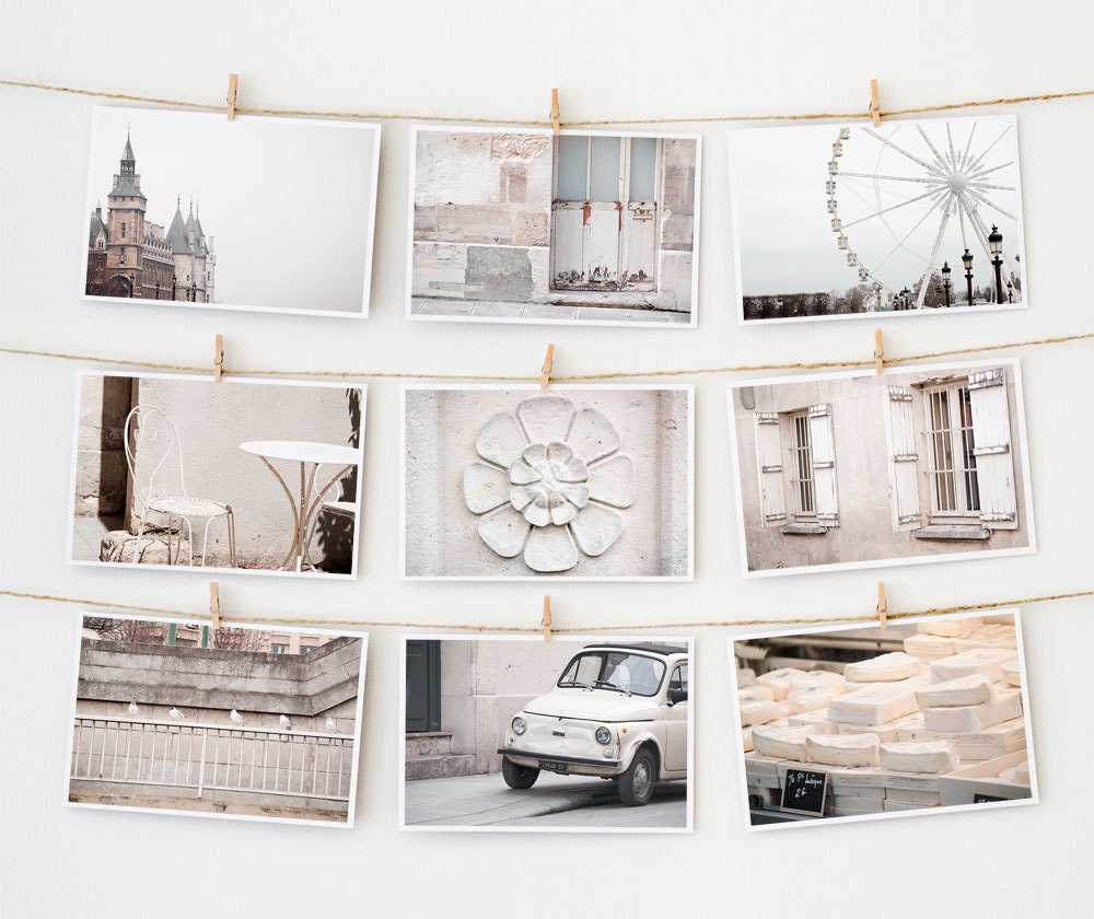 Postcard Set - Paris Postcards Collection, White - 4x6 art postcard - Paris Photography