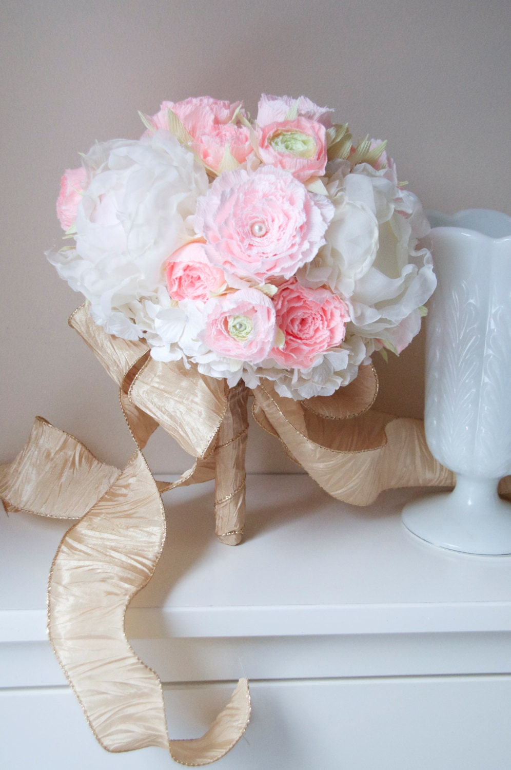 Ready to ship, blush gold wedding bouquet of paper ranunculus, paper hydrangea, upcycled Fabric peony SPRING 2014
