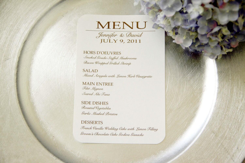 24 Custom Wedding Reception Menu Cards By ViennaIsLove On Etsy