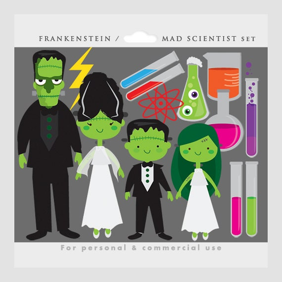 Items similar to Halloween clipart - Frankenstein clip art, mad ...