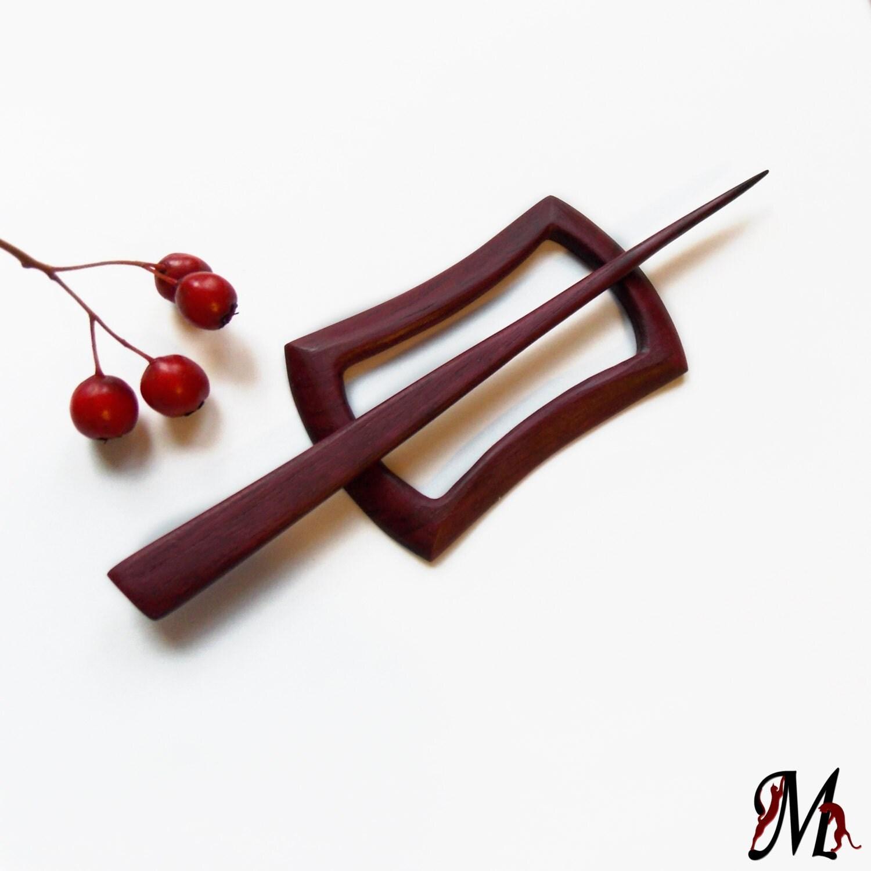Wooden shawl pin, hair clip, scarf pin, hair slider, hair barrette ...