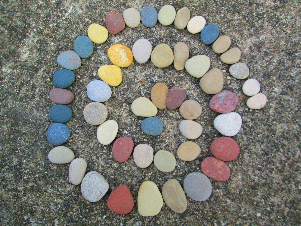 50 colorful smooth flat stones mosaic and craft by for Flat stones for crafts