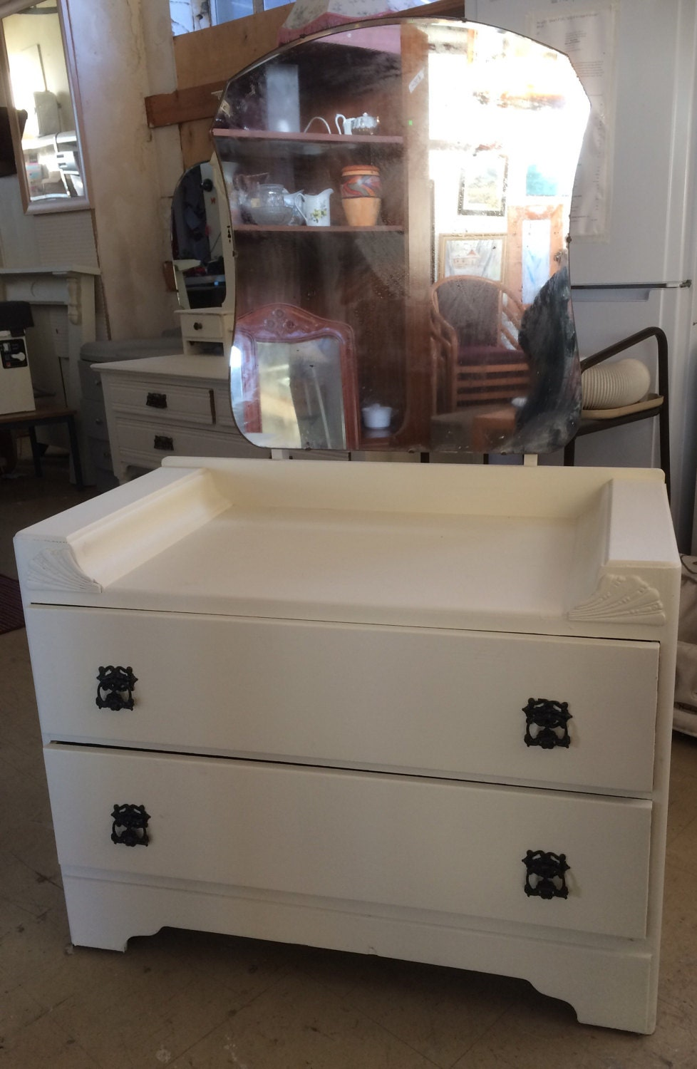 Hand painted dresser with mirror 64