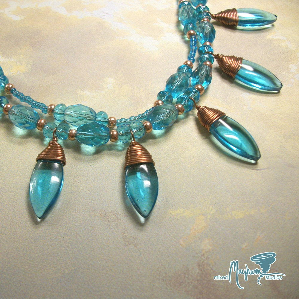 Czech Glass Dagger Necklace Cerulean Blue Double Strand