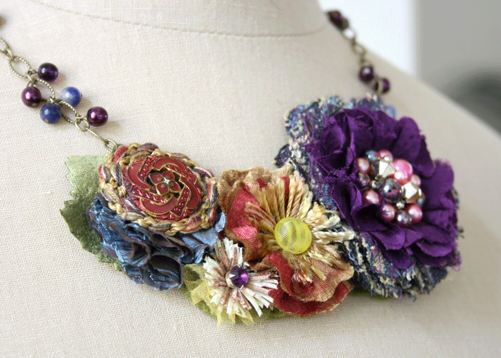 Flower Beaded Textile Statement Necklace in Colorful Jewel Tones