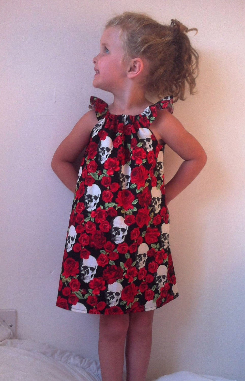 girls skulls dress skull dresses goth girl baby goth skulls and roses toddler kids clothes alternative day of the dead halloween