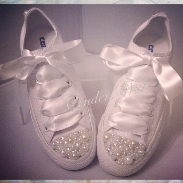 Pure White Pearl Converse  bridal converse  wedding converse bride converse  customised converse   unique sneakers  stunning footwear