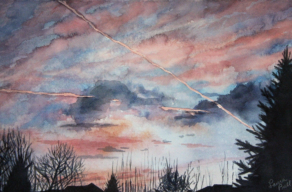 Sunrise  Watercolor Painting-Pink Purple Clouds Over Rooftops -Realistic Landscape- 8.5x11 - lauraprill