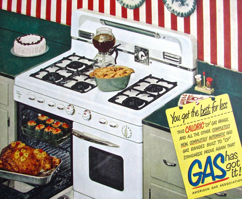 Items similar to 1950s vintage stove ad caloric gas range magazine prints adv - Range magazine mural ...